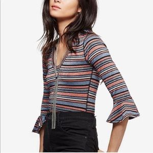 FREE PEOPLE Shimmery Striped Top 3/4 Sleeves